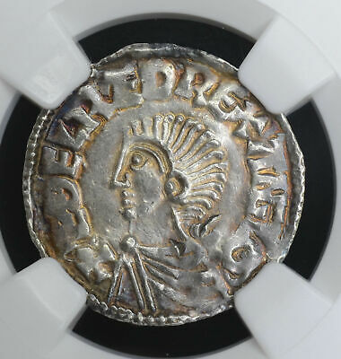 Great Britain 1d Penny 978-1016 AU58 NGC silver S#1151 Anglo Saxon Aethelred II