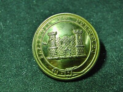 2 TOWER CASTLE w SNAKE in WINDOW & MOTTO 27mm LIVERY BUTTON DAWES/SHERLOCK 1832