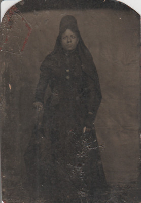 Black Americana Tin Photograph of Black Woman in Dress Portrait Photo Picture