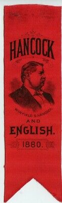 Antique Political Campaign Ribbon Hancock And English 1880 Winfield Presidential