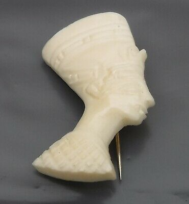Vintage Hand Carved Bone Brooch of an Ancient Egyptian - Superb Detail