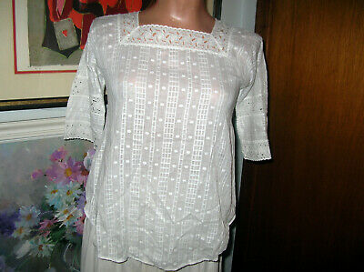 Antique Victorian White Cotton/Lace Blouse Back Buttons 3/4Sleeve..XSmall-Small
