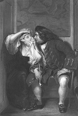 FAT OLD MAN UNCLE HITS ON PRETTY YOUNG GIRL WIDOW WOMAN 1853 Art Print Engraving