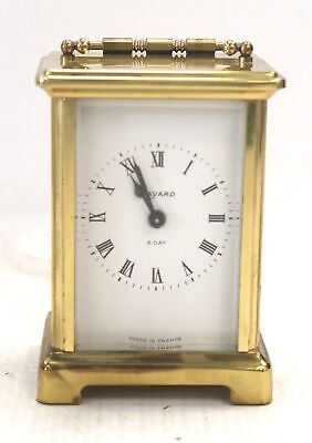 Vintage BAYARD BRASS Finish 8 Day 9 Jewels Carriage Clock Made in FRANCE - F03