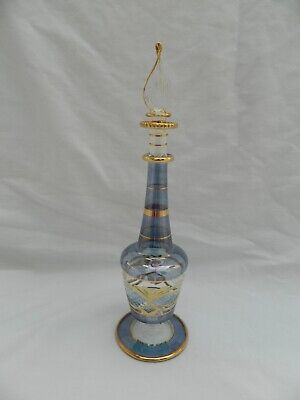 """1 Egyptian Glass Perfume Bottle Gold Accent Hand Blown Blue  8"""" #44"""