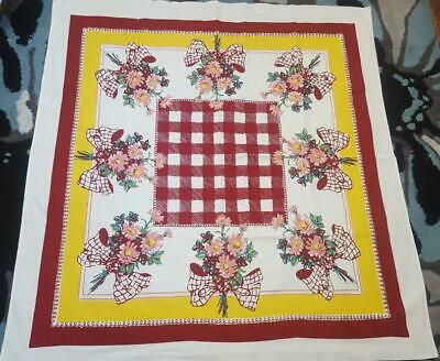 Stunning Vintage  Tablecloth Red Checks Yellow Border Pink Flowers Plaid Bows