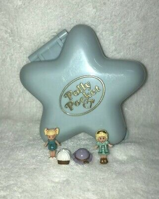 Vintage Polly Pocket Bluebird Fashion Fun Complete Dolls Hats Compact Blue