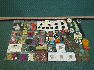 Junk Drawer Lot With 100+ Items Silver Dimes, Beads, Buttons, Watches & More