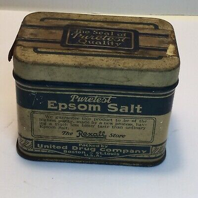 Vintage Puretest Epsom Salt 3 oz. Tin Can 1930s The Rexall Store