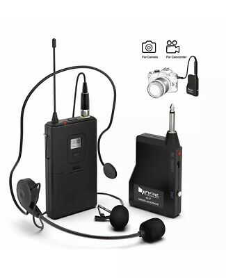 Fifine Wireless Lavalier Lapel Microphone System with Headset Receiver K037B US