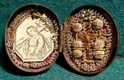 Antiq 18th Cent. 40mm RELIQUARY BOX w/ 6 STS. RELICS + CRUCIFIX & ENGRAVING