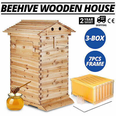 7PCS Auto Flowing Honey Hive Beehive Frames + 3-Box Beekeeping Wooden House Up