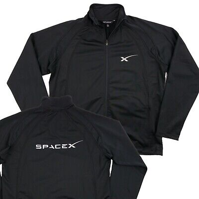 a65f3de47 RARE SPACEX FULL Zip Track Jacket Sweater Long Sleeve Tesla Black Men's  Size L