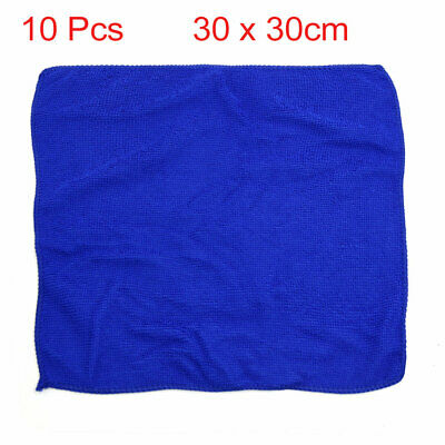 10 Pcs 30 x 30cm Blue Absorbent Microfiber Cleaning Washing Towel Cloth for Car