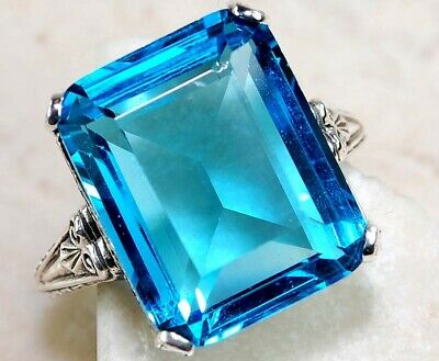 12CT Blue Topaz 925 Solid Sterling Silver Art Deco Filigree Ring Jewelry Sz 8