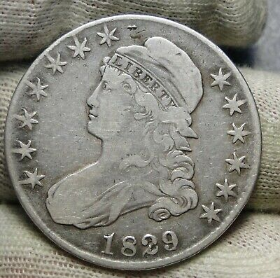 1829 Capped Bust Half Dollar - 50 Cents, Free Shipping Nice Coin  (8546)