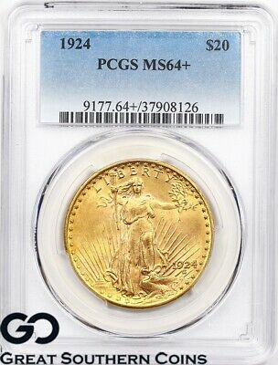 1924 Double Eagle, $20 Gold Indian PCGS MS 64+ ** Swirling Mint Luster, PQ!
