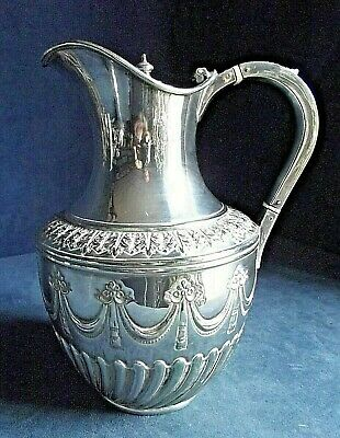 SUPERB Ornate ~ Mappin & Webb ~ SILVER Plate ~ FLUTED Juice / Water JUG ~ c1900