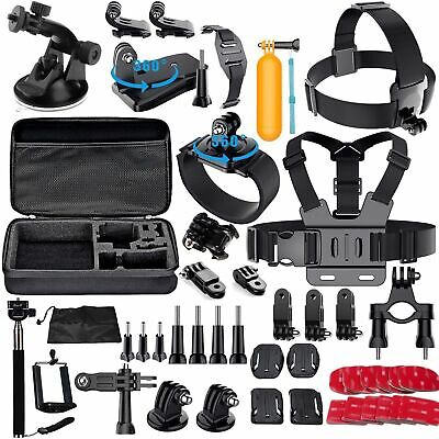 60Pcs Accessories Kit For GoPro Hero 2 3 3+ 4 5 SJCAM Head Chest Strap Pole Set