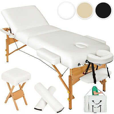 PORTABLE MASSAGE TABLE 3 SECTIONS WITH 10cm FOAM + STOOL + BAG + 2 PILLOWS new