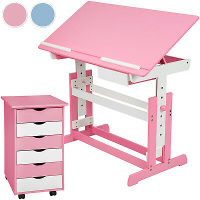 Kids child writing table homework study desk with 6 draver office cabinet new