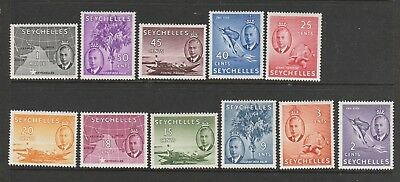 Seychelles 1950 set to 1R MM SG 158/68