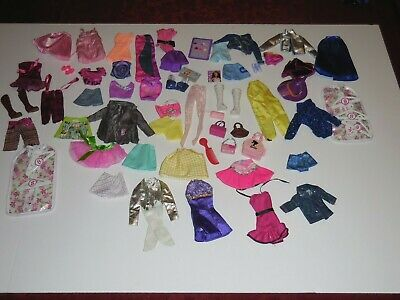 Lot of 60 Mixed  Barbie Clothing outfits garment bags accessories shoes purses