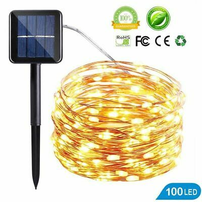 12M 100LED Solar Outdoor String Rope Lights Copper Wire Fairy Xmas Party UK MBI