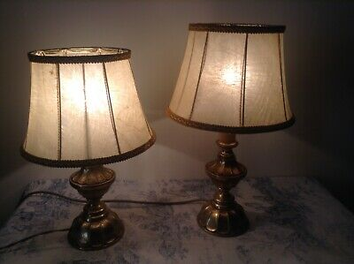 Pair Vintage French Brass / Bronze Table Lamp Lights with Shades (3877)