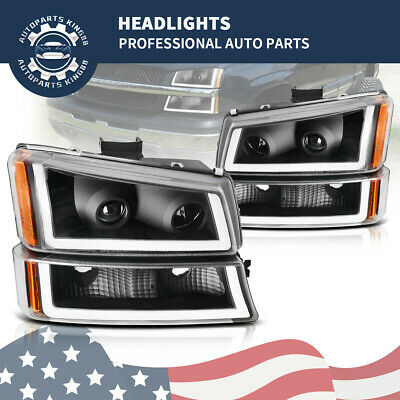 For 2003-2006 Chevy Silverado Black/Clear LED DRL Headlight Headlamp Replacement