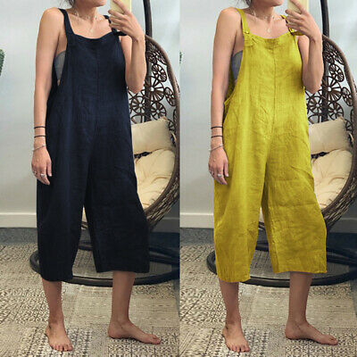 ZANZEA 8-24 Women Bib Pants Plain Jumpsuit Playsuit Dungarees Wide Leg Overalls