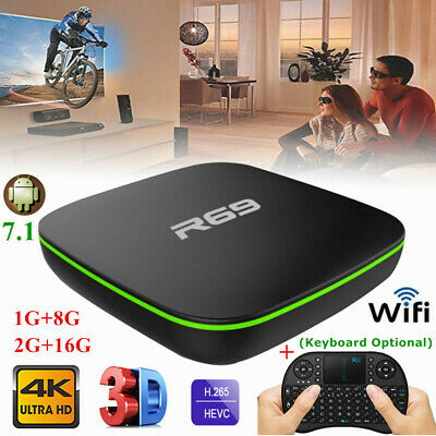 Lot Smart 4K TV Box R69 H3 Quad Core Wifi HD Android 7.1 1+8G/2+16G Media Player