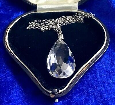 Super Antique Art Deco Real Silver & Large Pear Drop Cut Crystal Pendant & Chain