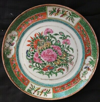 Antique plate chinese porcelain 19th 20th century hand painted