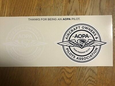 Aopa Aircraft Owners & Pilots Association Sticker (2) Clear / Blue Brand New!!!