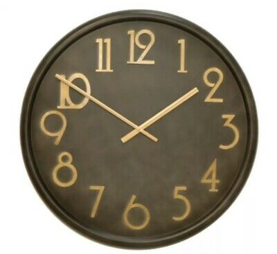 Wall Clock Large Black Gold Round Kitchen Decor Hampton Time Home Accessories