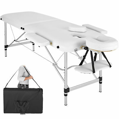 Lightweight Portable Aluminium Massage Table Bench Therapy Beauty white + Bag