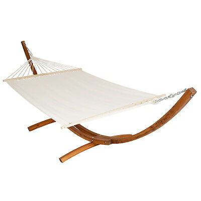 Xxl Pine Wooden Double Hammock With Solid Arc Frame Stand Bed Sun Garden Lounger