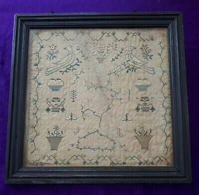 Antique Mid-to-Late 18C, c1780, Framed & Glazed Embroidery Sampler. French?