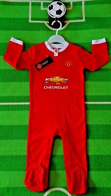 ⚽️MANCHESTER UNITED⚽️Official⚽️Babys Home KIT⚽️SLEEPSUIT Grow⚽️12-18 Month⚽️NEW