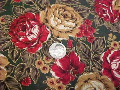 Cotton Fabric Quilt Sew Material Hoffman Roses Coventry Line on GREEN Craft