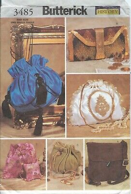 Butterick 3485 Pattern MAKING HISTORY HISTORICAL BAGS ~ EVENING BAG - CLUTCH