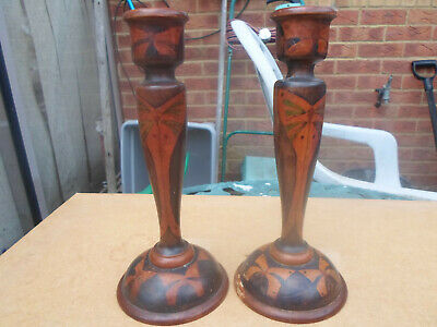 Rare Dryad Leicester Arts and Crafts Hand Painted Pair of Wooden Candlesticks