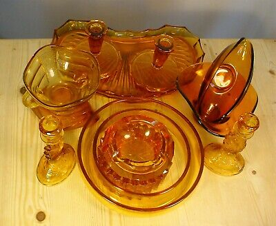 12 Pieces Amber & Pressed Glass incl. Candlesticks - Job Lot