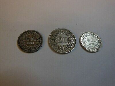 3 SWITZERLAND COINS (HELVETICA)  2 x 1/2 FRANC @ 20 RAPPEN - USED CONDITION