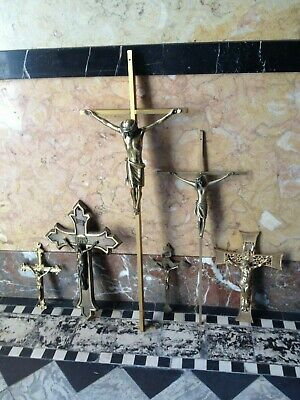 Lot 6 Mixed Vintage Bronze Metal Cross Crucifix Jesus&Christ Corpus Wall Hanging