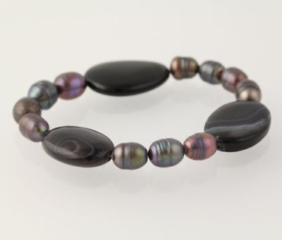 New Beaded Bracelet - Ringed Black Pearl & Black Agate Stone Beads Stretch Band