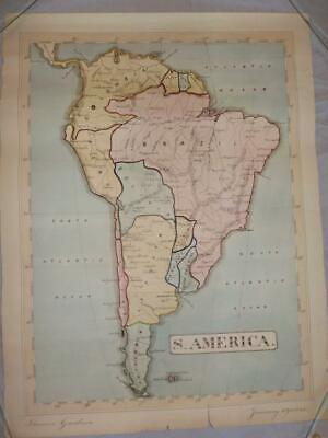 Rare 1845 Hand Drawn & Coloured Map Of South America By Thomas Gardner