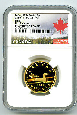 2019 Canada Silver Proof Loonie Dollar Ngc Pf69 Ucam Gilt Loon First Releases