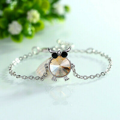 Fashion Charm Women Owl Rhinestone Silver Plated Cuff Bracelet Bangle Jewelry Z1